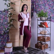 "Пижама тройка  халат с пижамой кулир ""Бордо-one"" р.42-54"