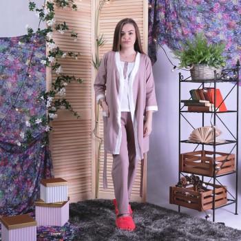 """Пижама тройка  халат с пижамой кулир """"Пудра"""" р.42-54"""