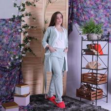 """Пижама тройка  халат с пижамой кулир """"Оливка"""" р.42-54"""