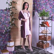 """Комплект халат с сорочкой  кулир """"Fantastic dream"""" р.42-54"""