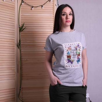 "Женская молодежная футболка ""Butterfly - gray""  р. 42-50"