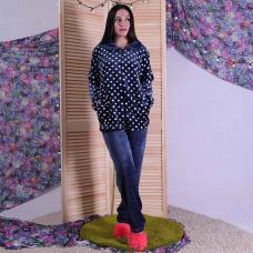 """Женская махровая пижама """"Воротник - горох"""" р.48-56"""