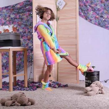 "Детский халат на запах с ушками ""Радуга"" р.36-42"