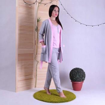 """Теплая тройка халат с пижамой """"Gray"""" р.42-54"""