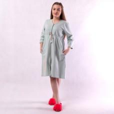 """Жіночий теплий домашній халат """"Amore-Оливка"""" 46-54р."""