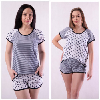 """Женская летняя пижама футболка с шортами """"Пальмы"""" р.42-54 двух цветов!"""