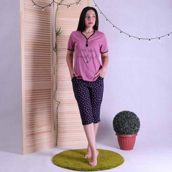 """Женская пижама футболка с бриджами """"Кира"""" р. 44-52"""
