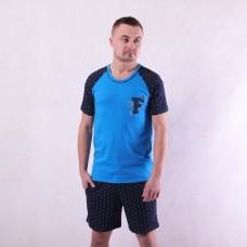"""Чоловіча літня піжама футболка з шортами """"Форд"""" 44-60 (тільки в синьому кольорі)"""