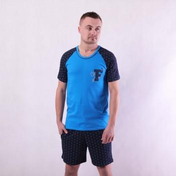 """Мужская летняя пижама футболка с шортами """"Форд"""" 44-60 (цвет только синий)"""
