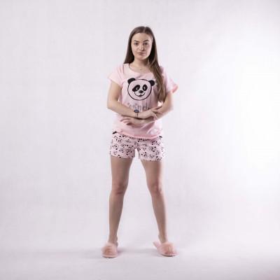 """Женская летняя пижама футболка с шортами фуликра  """" face-Animals"""" 42-54р."""