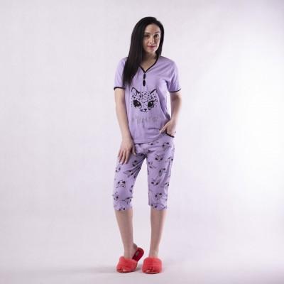 """Женская летняя пижама футболка с бриджами """"face-Freands"""" 44-56р."""