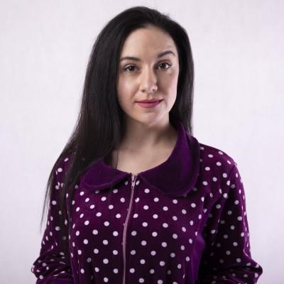 """Женский велюровый халат """"Воротник-горох"""" 52-60р."""