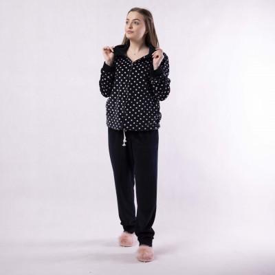 """Женская велюровая пижама 2й-ка """"Воротник - горох"""" р.48-56"""
