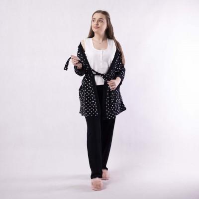 """Велюровая  женская пижама тройка """"Горох"""" 42-54р."""