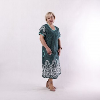"""Жіночий літній халат батал """"Незабудка-green"""" р.52-64"""