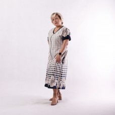 "Жіночий літній халат батал ""Незабудка-cream"" р.52-64"