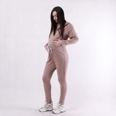 """Жіночий стильний комбінезон 2-нитка з капюшоном, підходе для вагітних """"Шанди беж"""" 42-50"""