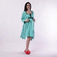 """Комплект ночная с халатом """"Вензиль green"""" 54 р."""