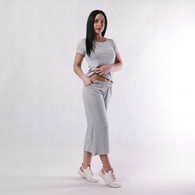 """Летний женский костюм футболка с кюлотами рубчик """"Кэндл""""46-50р."""