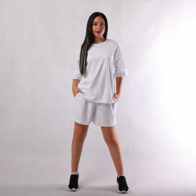 "Летний костюм оверсайз футболка+топ  и  шортами "" Белый Стиль оверсайз ""42-54"