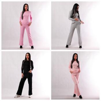 """Теплий жіночий базовий костюм рубчик-начісування """"Кендл"""" 42-54р."""