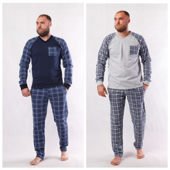 """Мужская теплая пижама """"Клетка""""  р.44-60 ( цвет пижамы в наличии темно синий, серые есть только  в 56 и 60 р!)"""