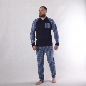 """Мужская теплая пижама """"Клетка""""  р.44-60 ( цвет пижамы в наличии темно синий, серые есть только  в 60 р!)"""