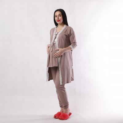 """Женский комплект для сна 4ка подходит для беременных  и кормящих мам """" Кружево-Бабочка темно-коричневый""""  42-54р."""