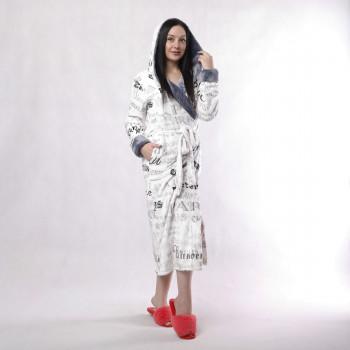 """Жіночий довгий махровий халат з подвійним капюшоном """"Париж білий"""" р.42-54"""
