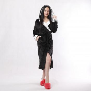 """Жіночий довгий махровий халат з подвійним капюшоном """"Париж Чорний"""" р.42-54"""