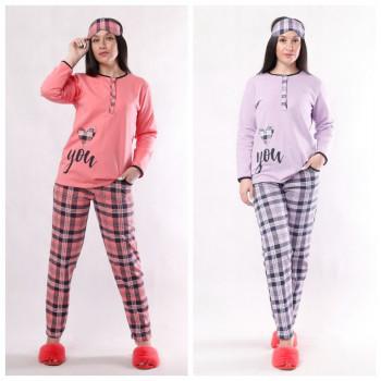 """Женская теплая пижама с маской """"Vona"""" 44-56 (размер 48 и 52 только фиолетового цвета!)"""