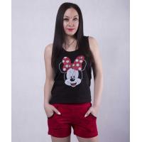 """Жіноча піжама майка з шортами """"Minnie"""" р. 42-50 (колір чорна майка, червоні шорти)"""