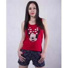 """Женская пижама майка с шортами """"Minnie"""" р. 42-50 (цвет черная майка, красные шорты)"""