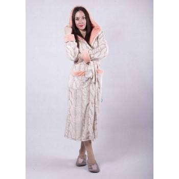 """Женский длинный махровый халат с двойным капюшоном """"Эшли"""" р.42-54"""