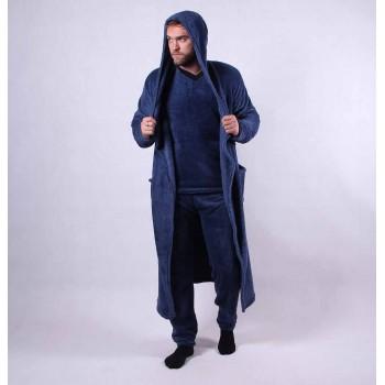 Мужская махровая пижама c халатом  р.44-56
